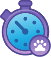 A stop watch animation to show that users can set walk goals for their animal while using the application.