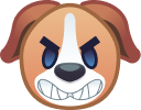 A avatar of an unfriendly dog to show that Paway users can see other dogs temperaments while on the application.