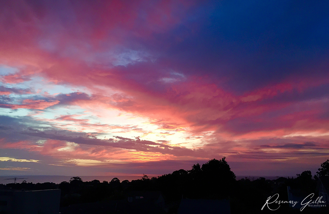 Sunset sky in washes of pink, purple and blue over Port Philip Bay from Beaumaris. Houses and trees in foreground