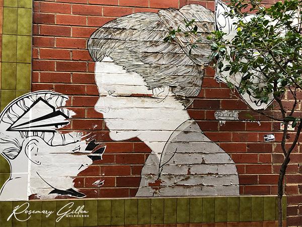 Art on a Wall in Chancery Lane, Bendigo, Australia.