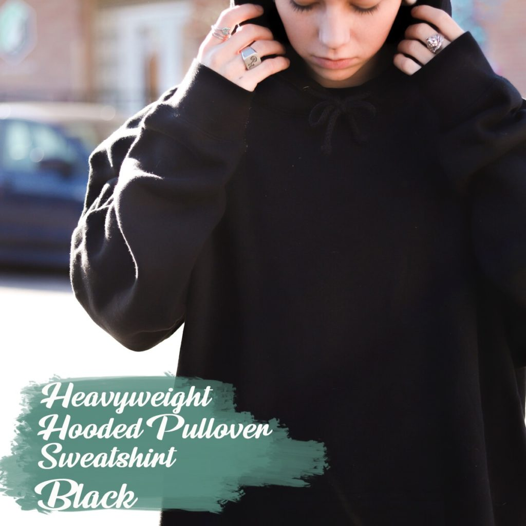 indy trading black heavyweight hooded pullover