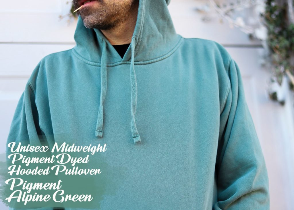 midweight pigment dyed hooded pullover