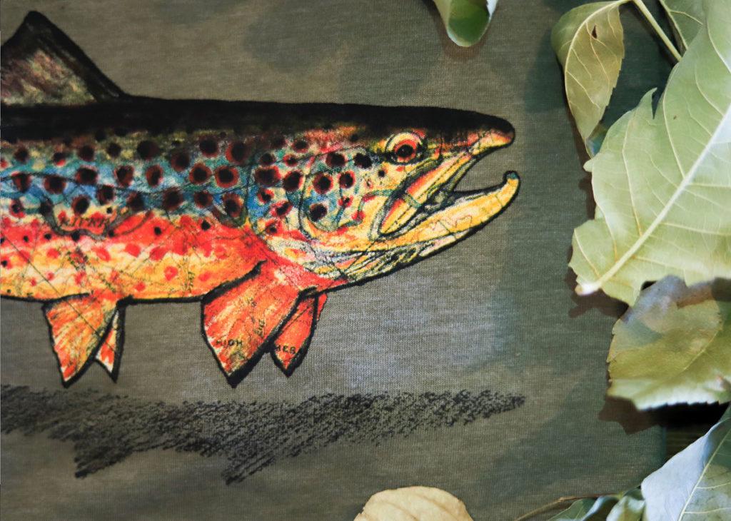 fish water based print on tee