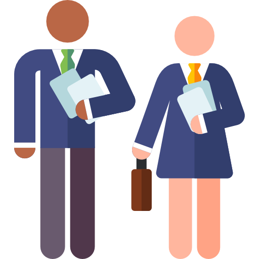 male and female teacher holding files
