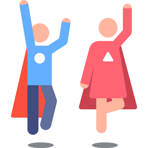 male and female teacher with cape