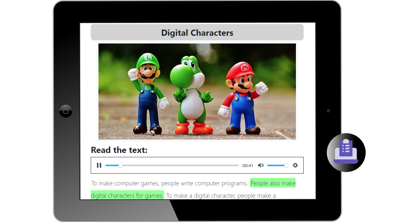 digital reading assignment for language learning