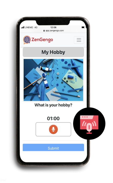 online audio recording assignment for language learning ZenGengo
