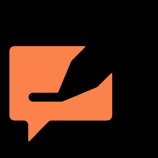orange speech bubble icon with question mark