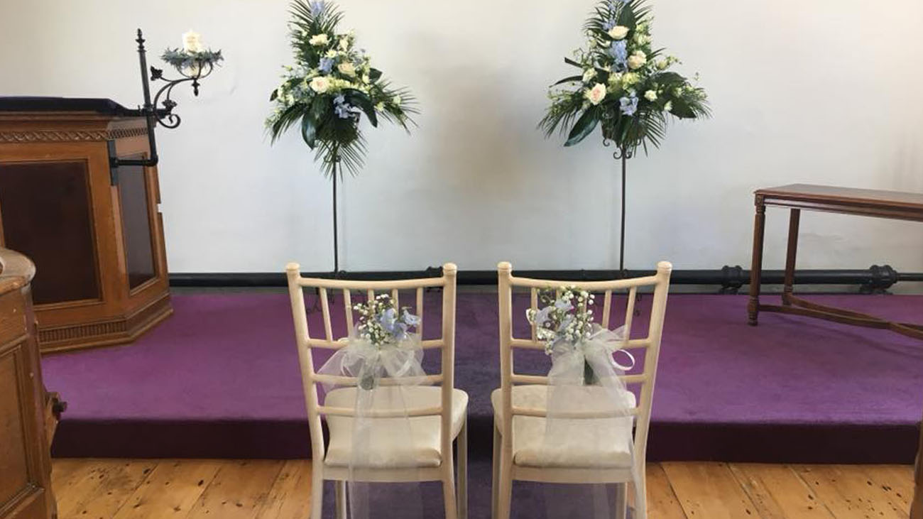 Woodside Chapel Bride and Groom Chairs