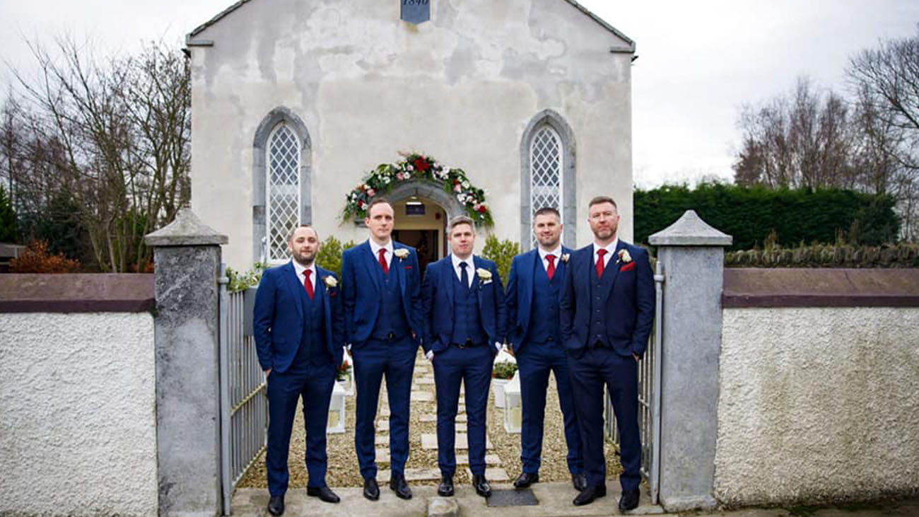 Woodside Chapel Groom Party at Front
