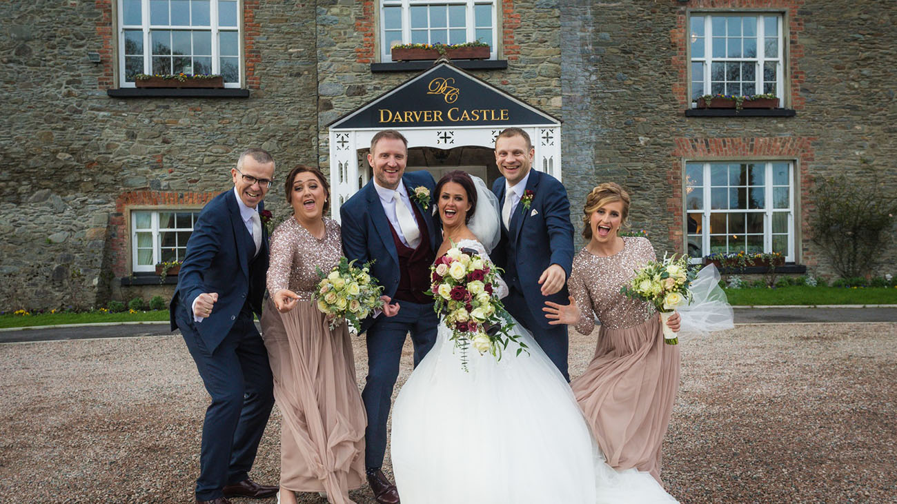 Darver Castle Bride, Groom and Guests at Front