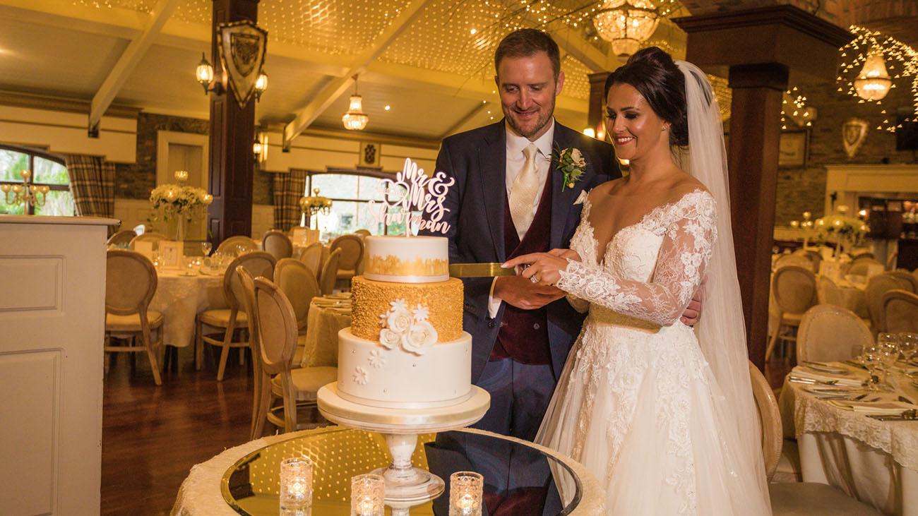 Darver Castle Bride and Groom cutting their Wedding Cake