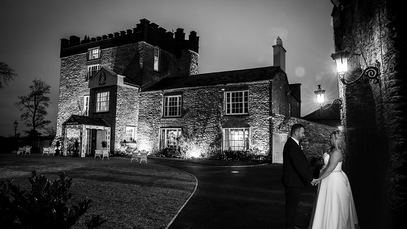 Darver Castle Black and White at Night