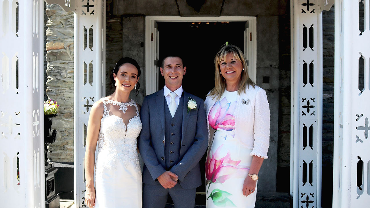 Reverend Lorraine McCarthy with Bride and Groom at Darver Castle