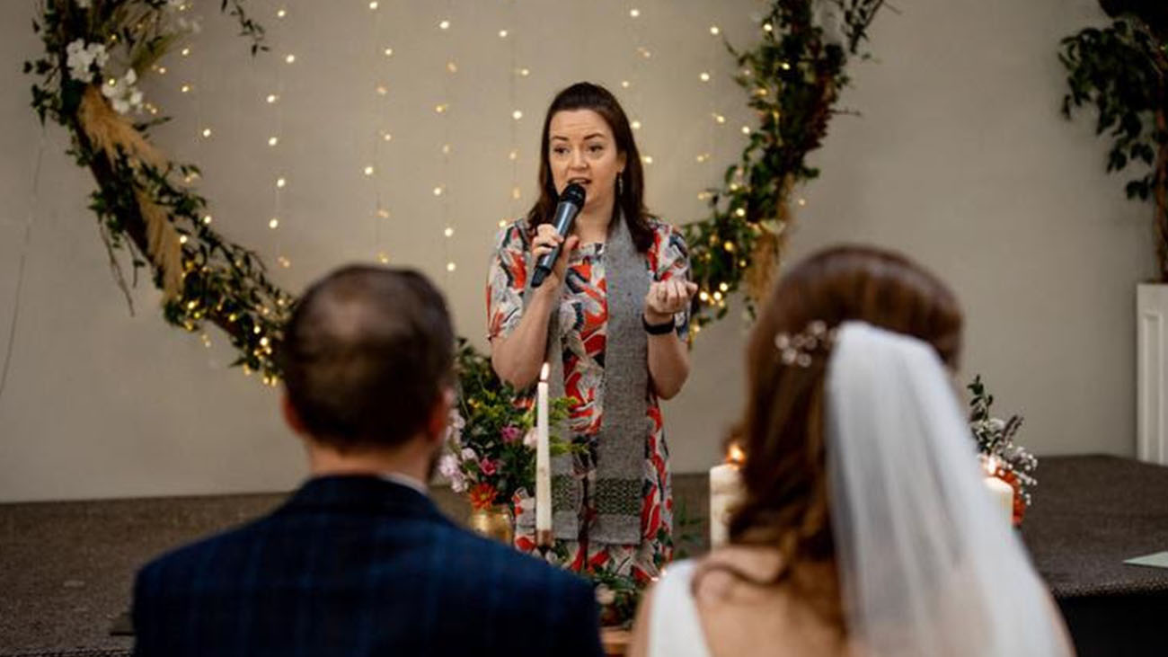 Reverend Gabrielle O'Brien officiating a Wedding Ceremony