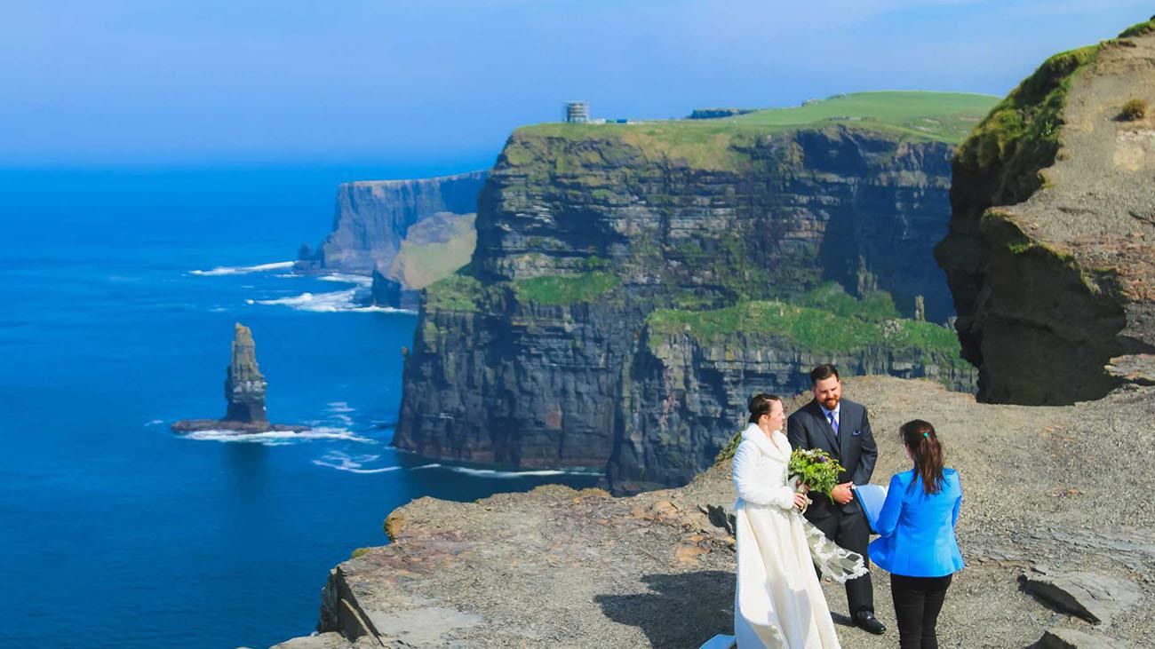Coastal Ceremonies at the Cliffs of Moher Civil Wedding Ceremony