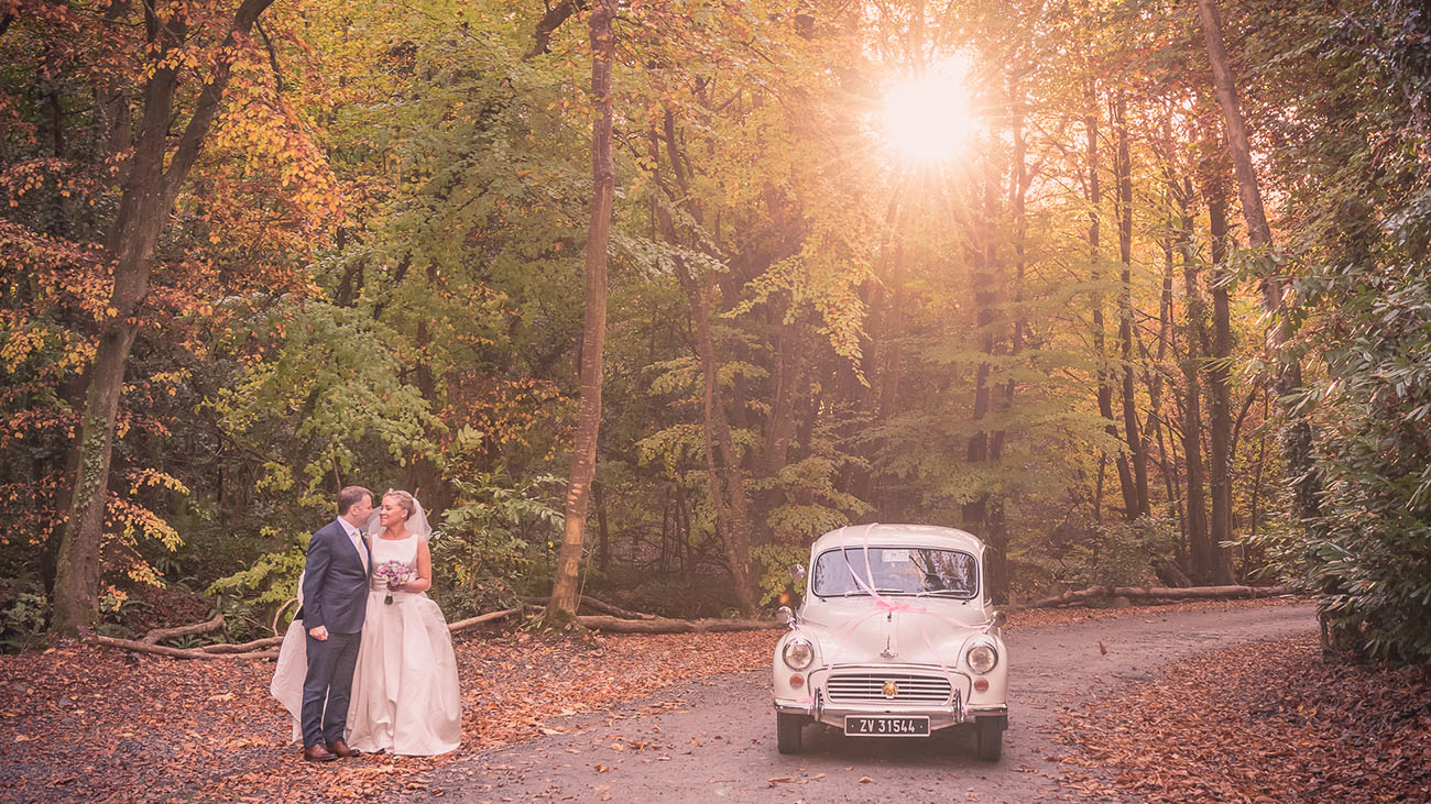 Boyne Hill House Bride and Groom in Forest