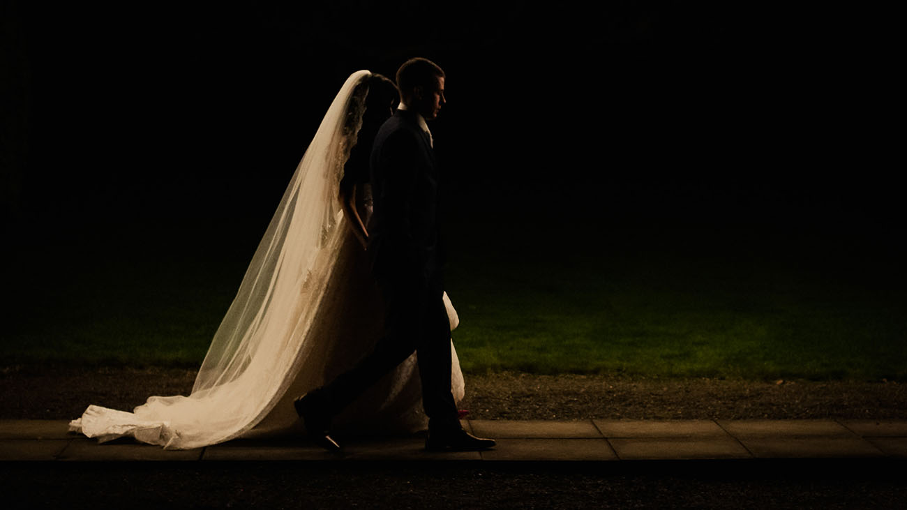 Photographic Memory Bride and Groom at Night