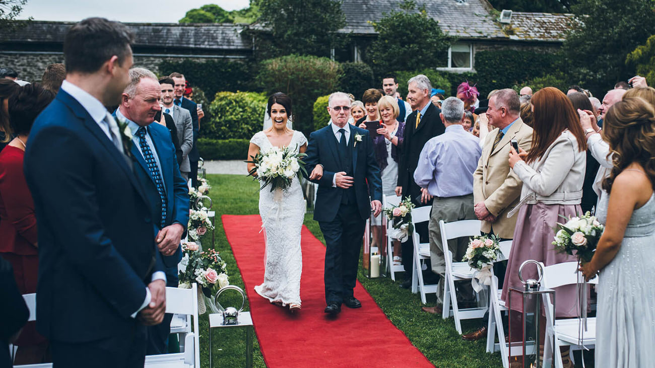 Rathsallagh Country House Outdoor Bride and Father of the Bride
