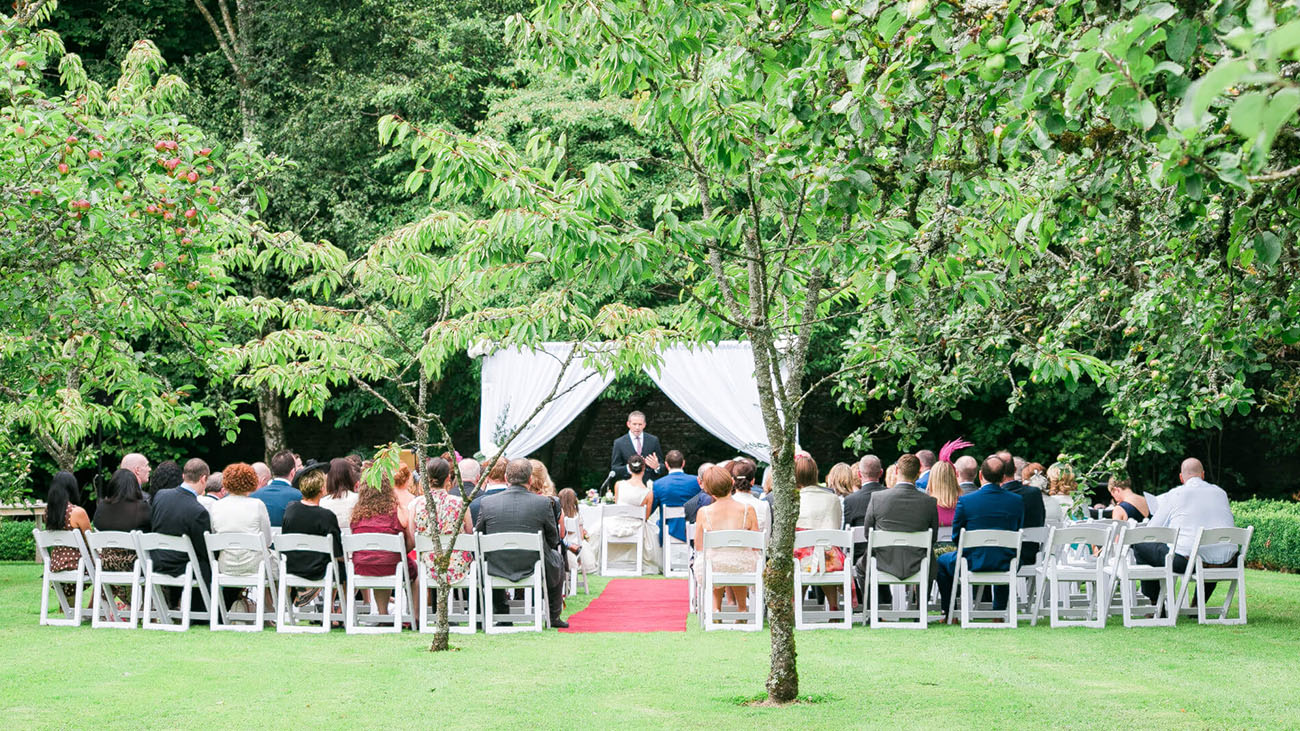 Rathsallagh Country House Wedding Party in Civil Ceremony Garden