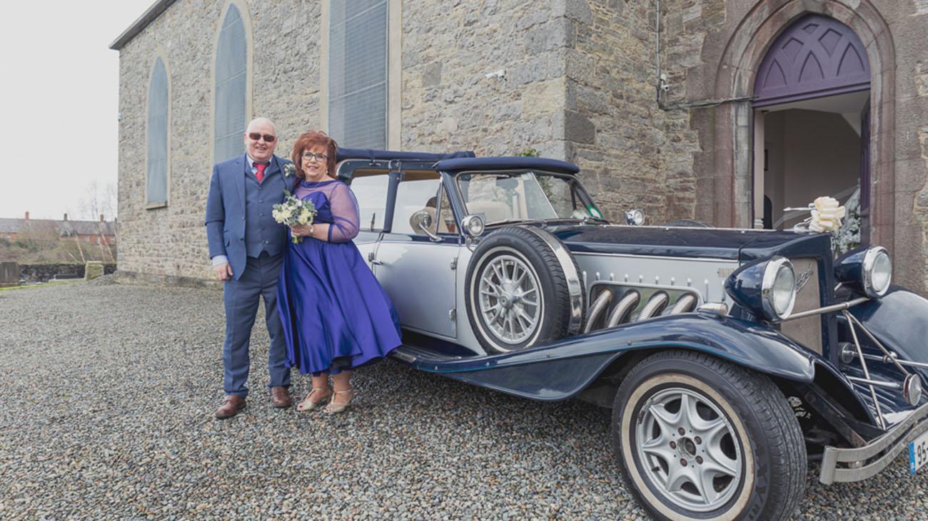 Gerrard's Church Wedding Car and Bride and Groom Outside