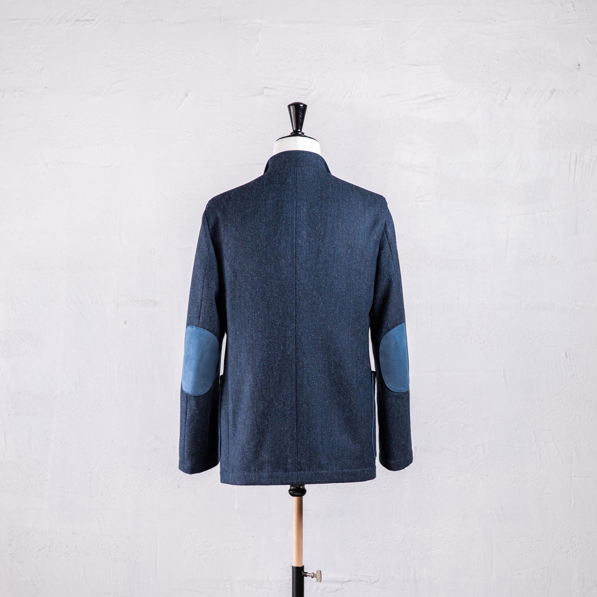 veste droite en tweed bleu Caminel