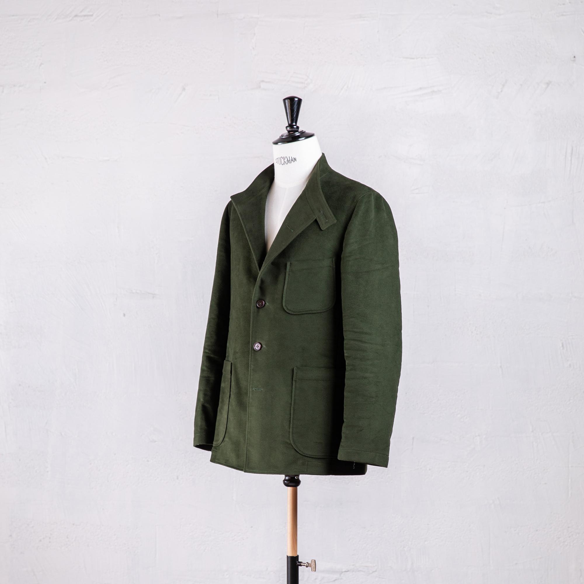 Veste droite pour homme en moleskine vert olive Caminel