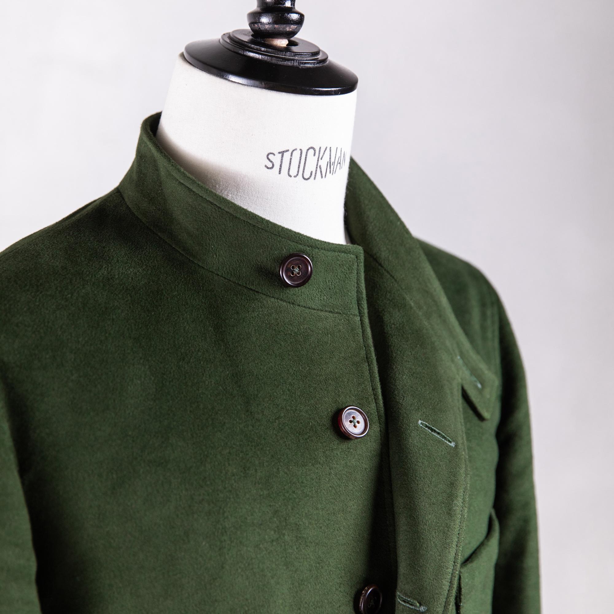 Veste droite pour homme made in France en moleskine vert olive Caminel