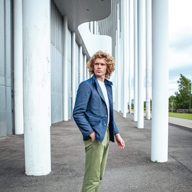 veste pour homme en jean bio made in France Caminel