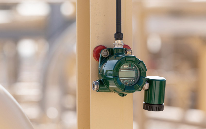 A shepherd safety systems gas detection device is shown at a worksite