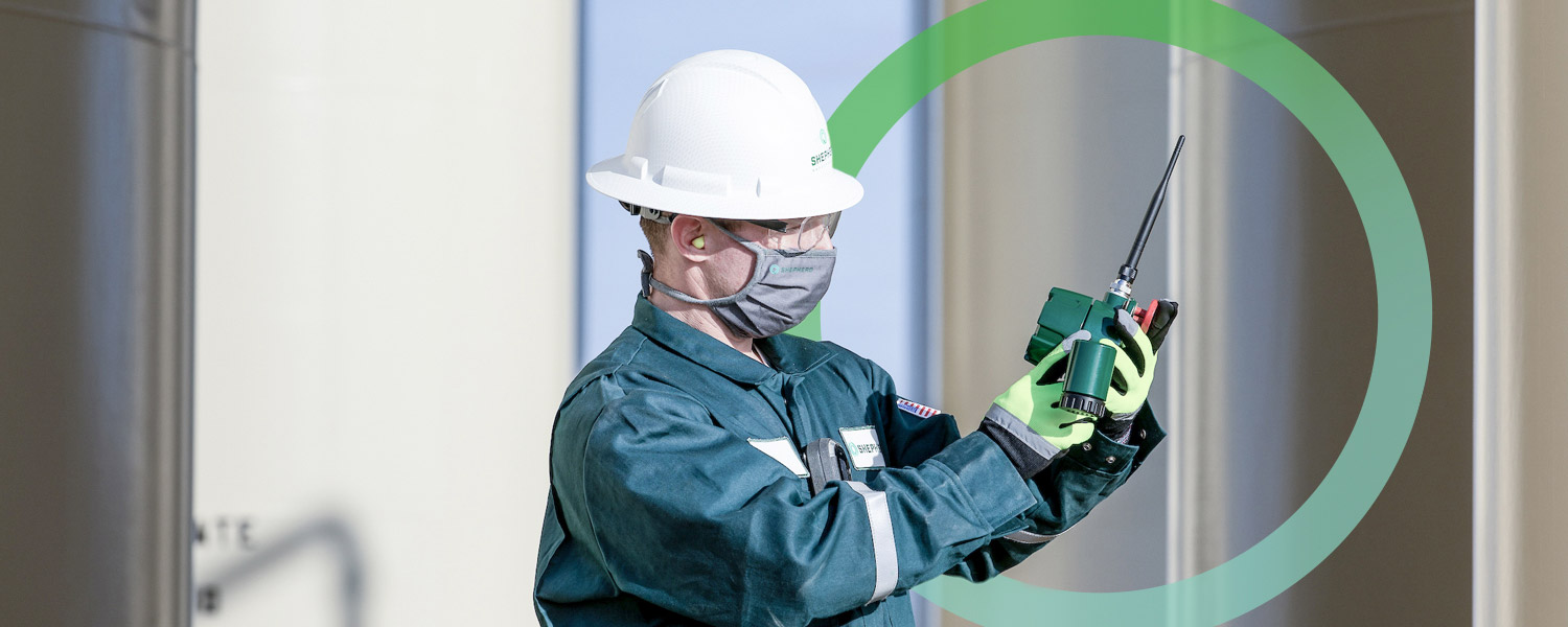 A worker checks on the shepherd safety systems gas detection device