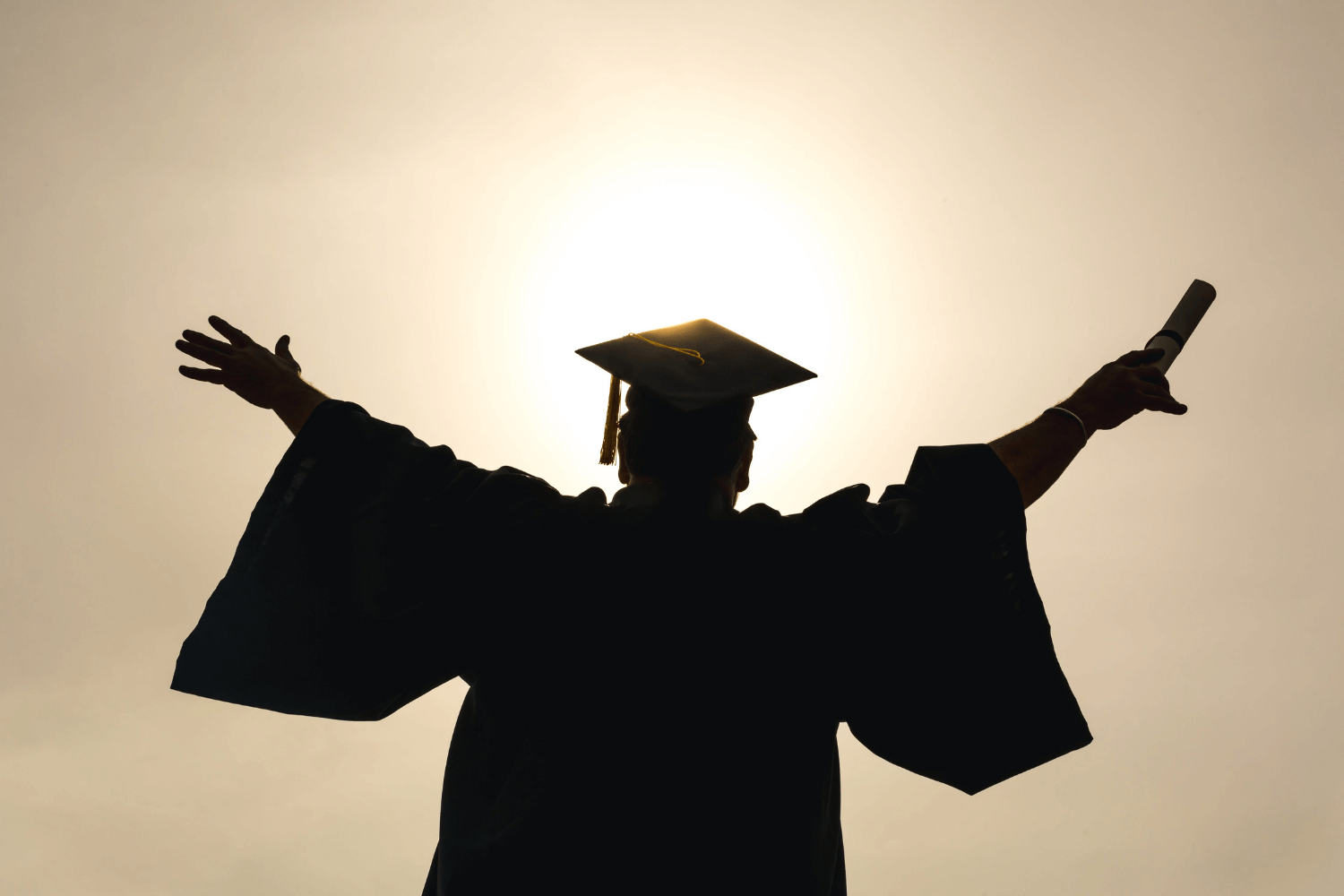 Graduate holding their arms up like a bird with degree in hand looking at the sun