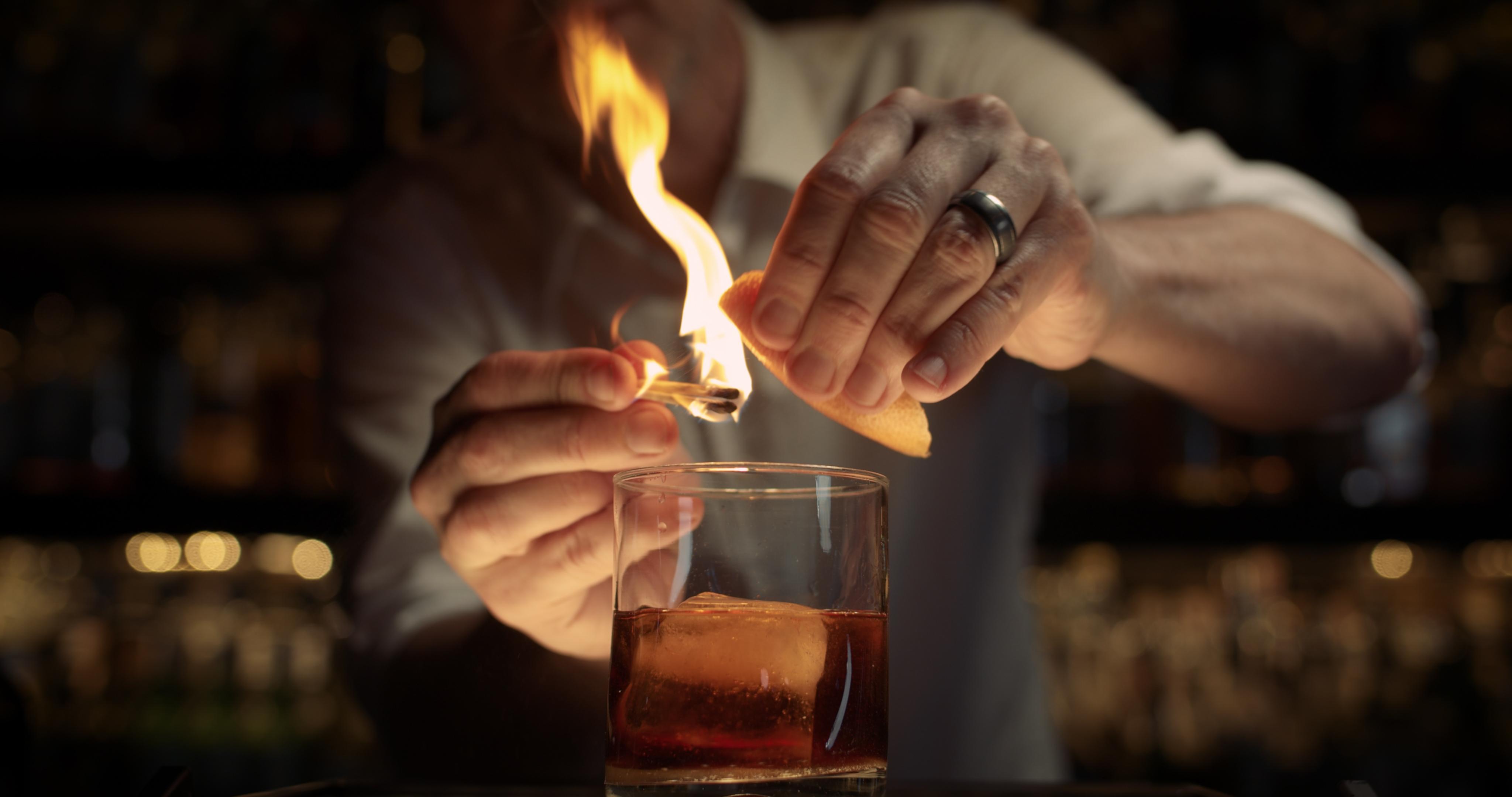 Cocktail Being garnished