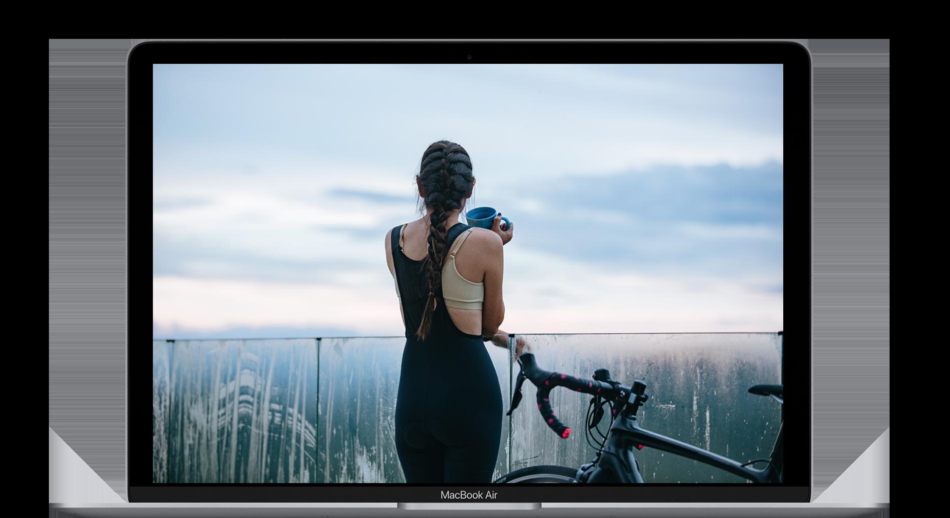 Computador portatil - Imagen deportista mujer espalda bicicleta