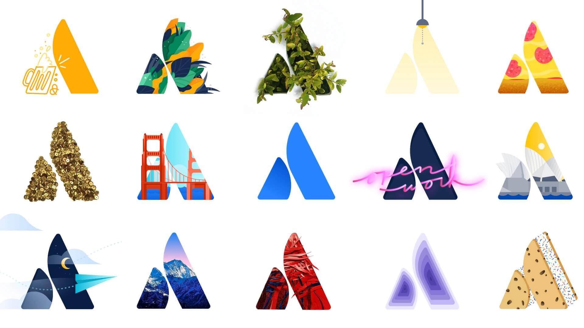 Atlassian logos with unique designs