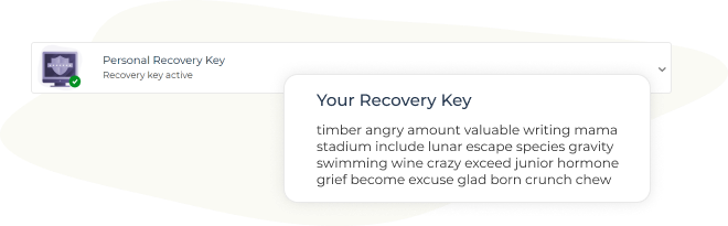 Personal recovery key