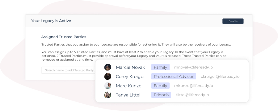 Legacy Trusted Party select