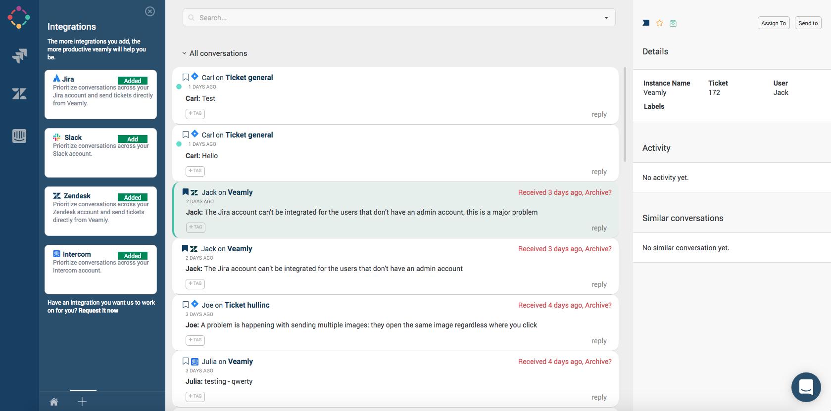 Add Slack integration interface in Veamly