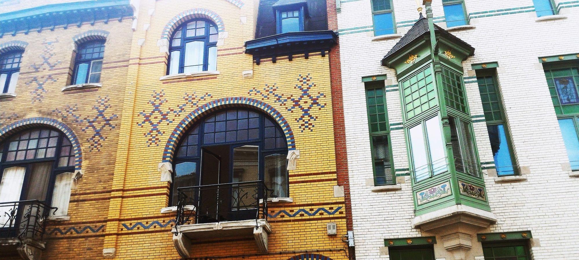 The art nouveau houses in the side streets of Cogels Oyslei in Zurenborg, Antwerpen