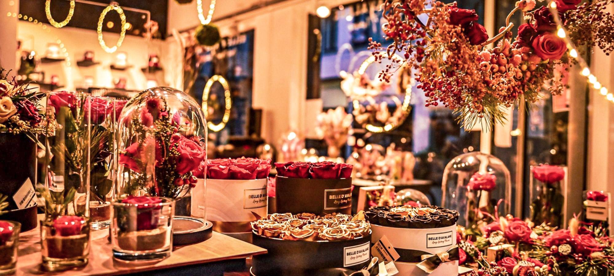 Christmas lights and decor inside a rose flower shop, Antwerp, Belgium