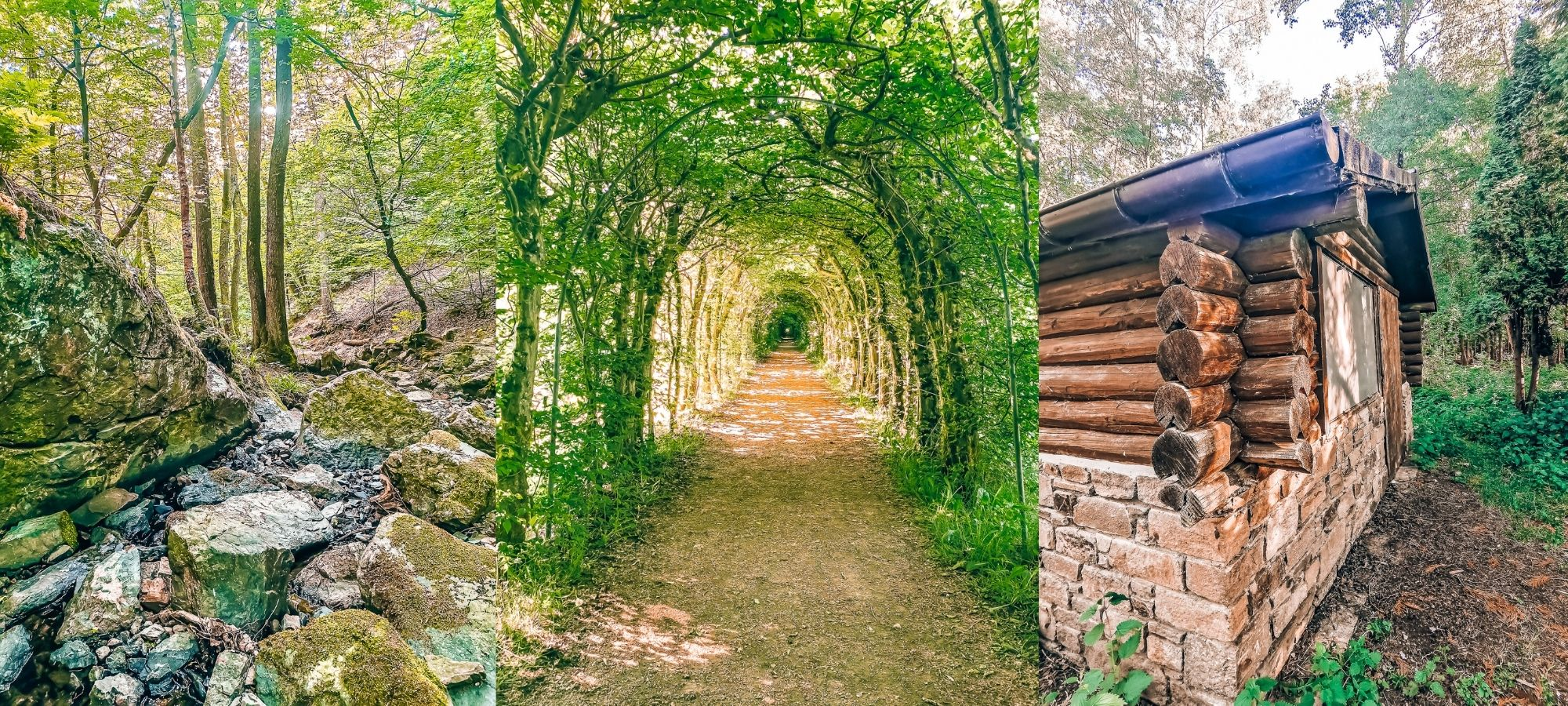 Left: small river. Middle: tunnel of love La Charmille. Right: wooden cabin