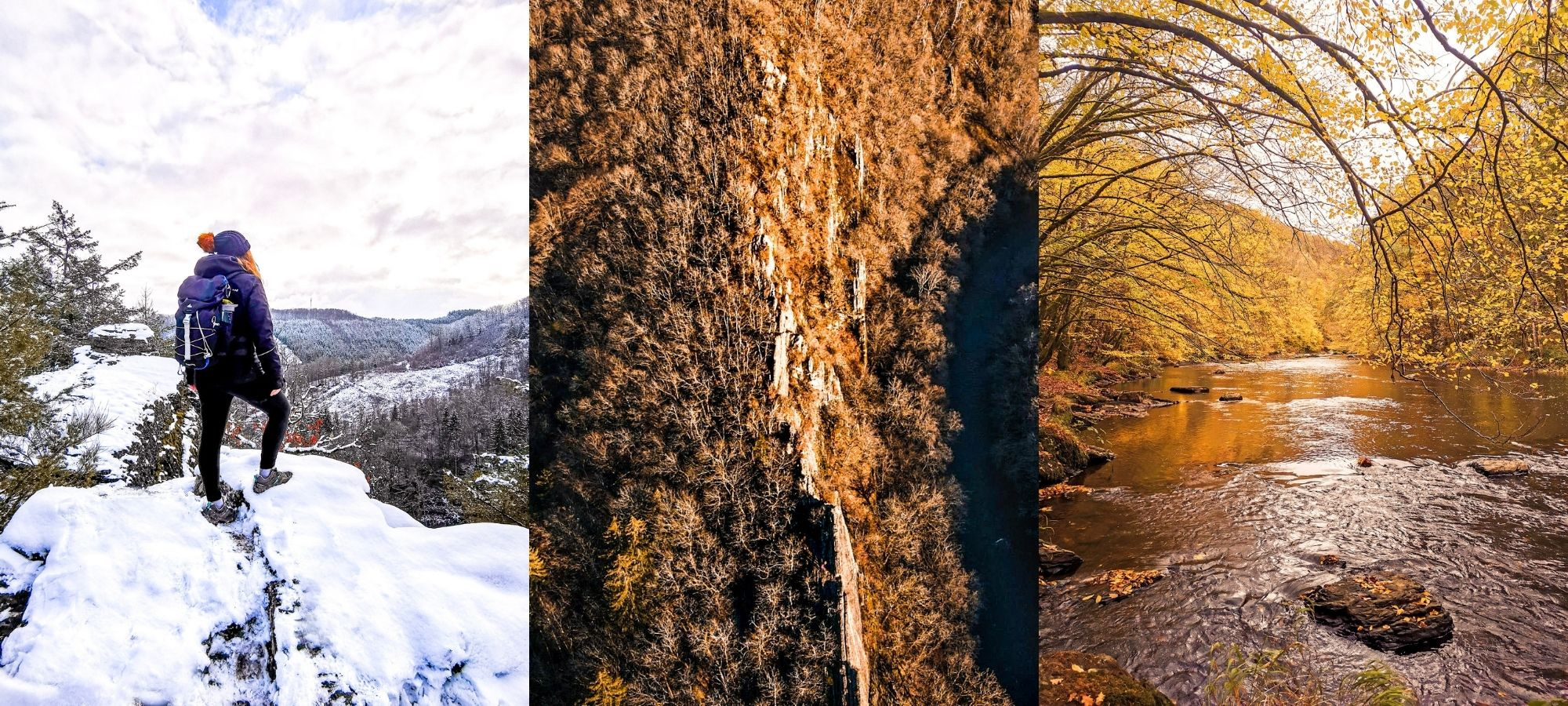 Left: female hiker on a snowy cliff. Middle: looking down into a alley. Right: pond