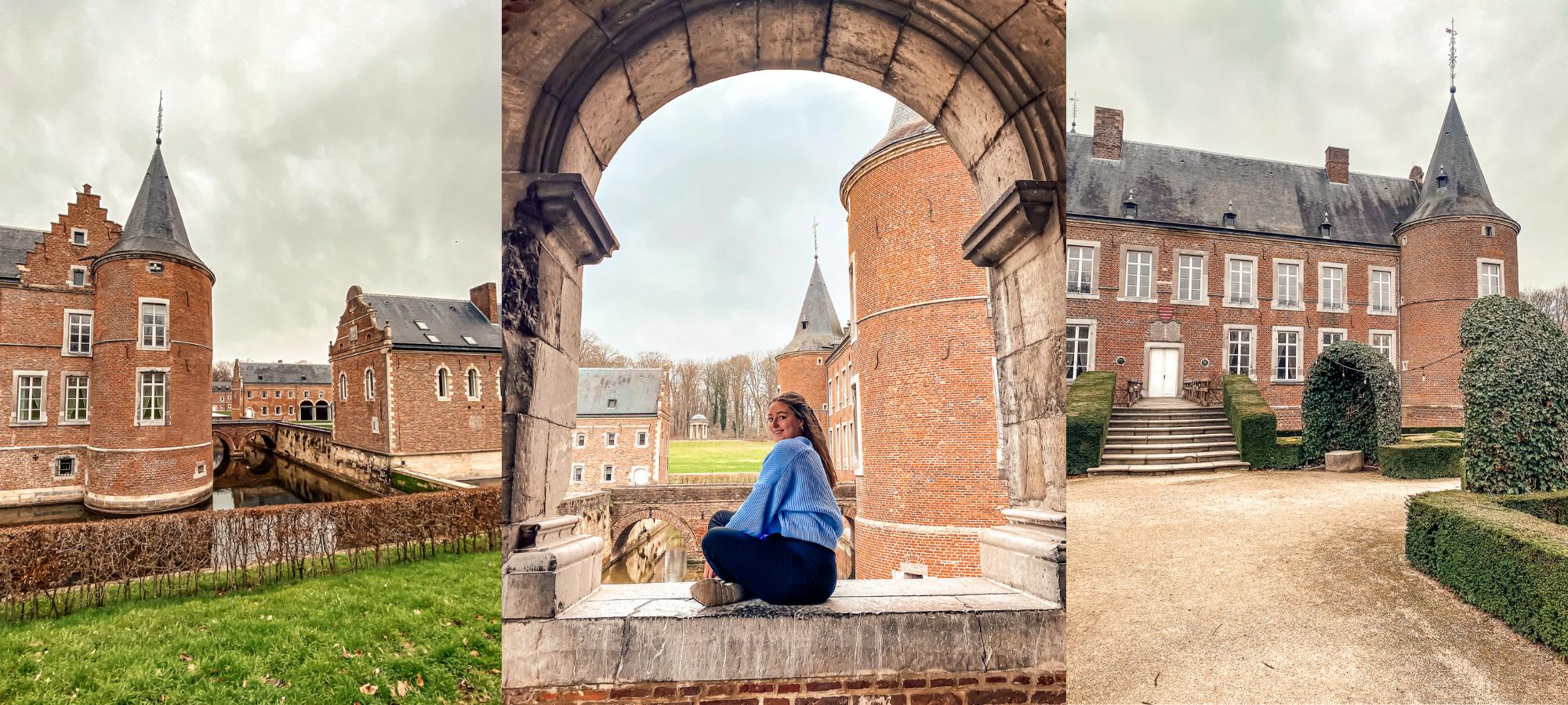Girl in a blue jumper sitting in a castle window at Alden Biesen