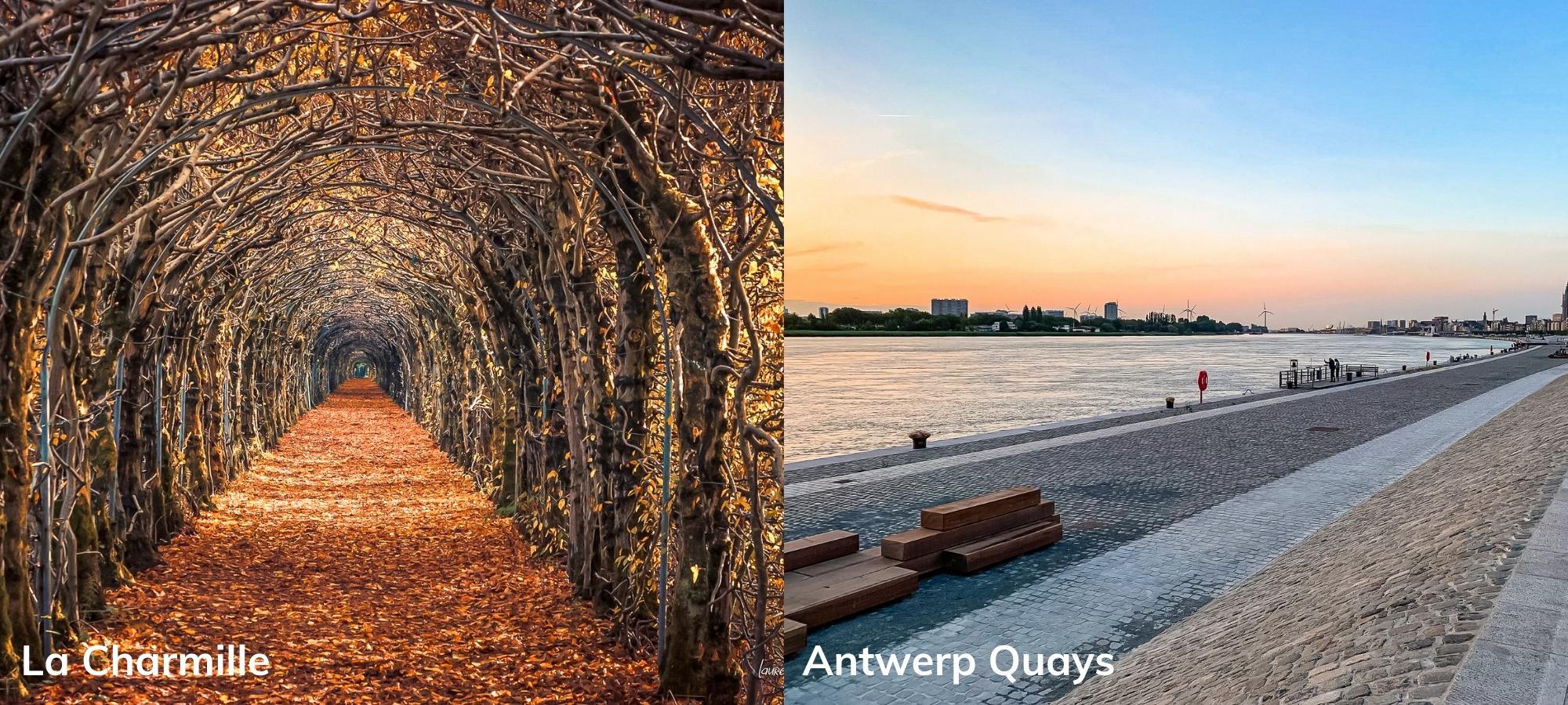 Left: La Charmille, Liege. Right: Quays of Antwerp, Belgium.