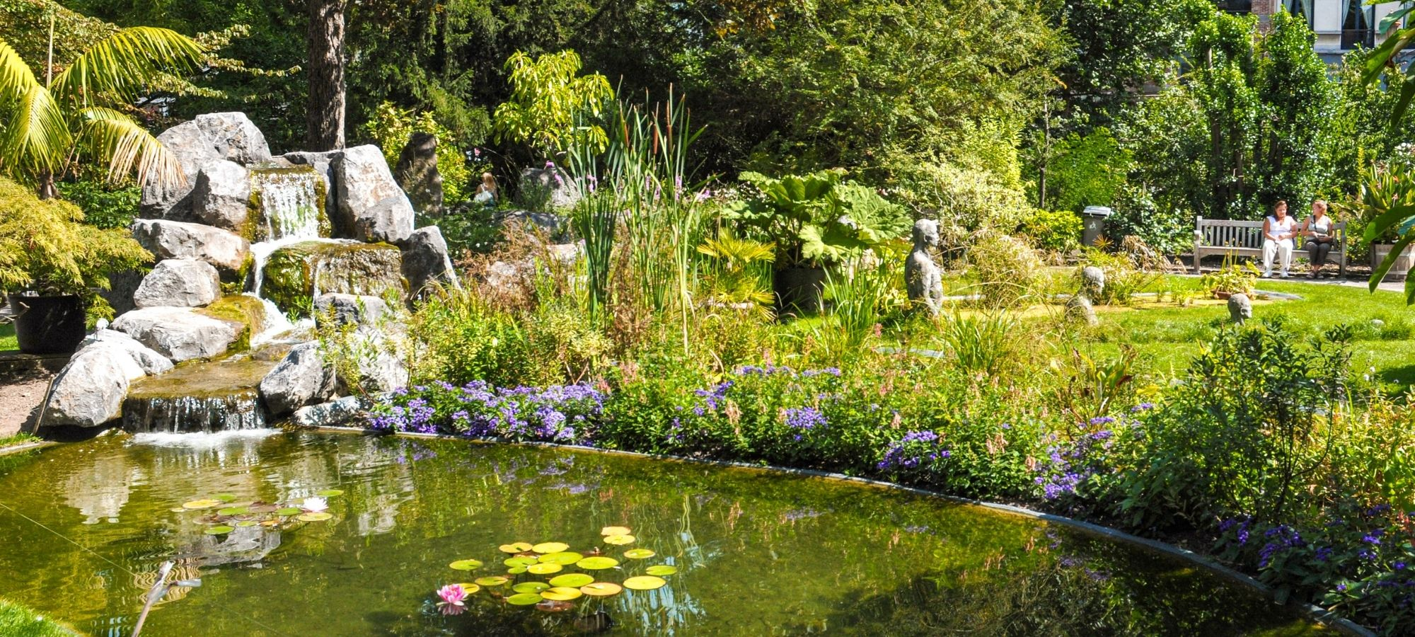 A small pond with a lily pad in the centre and a mini waterfall feature at the top in Plantentuin, Antwerp