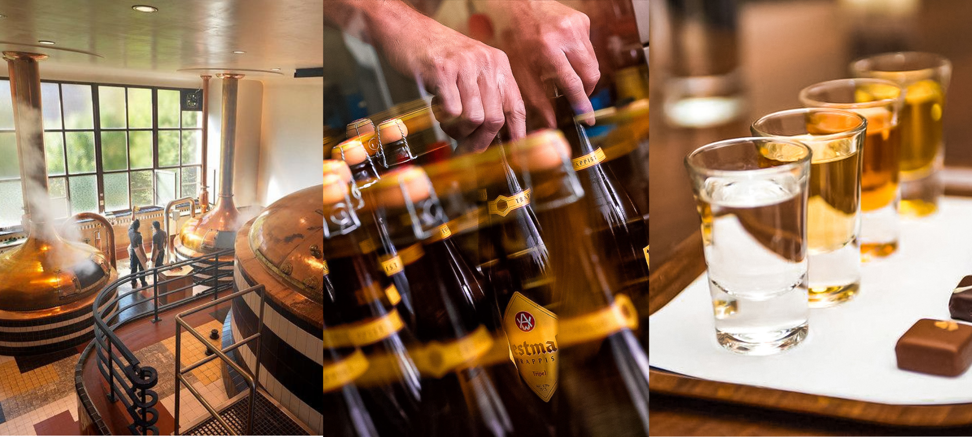 Image collage of Belgian trappist beer