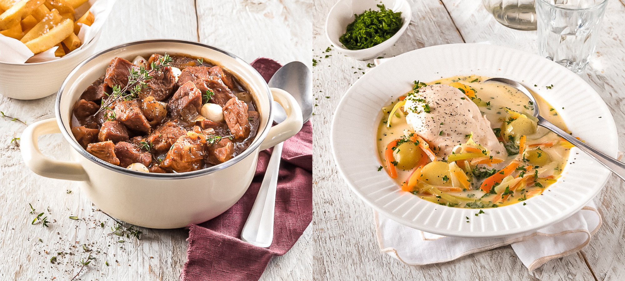 Two Belgian meaty stews with veggies on a white table