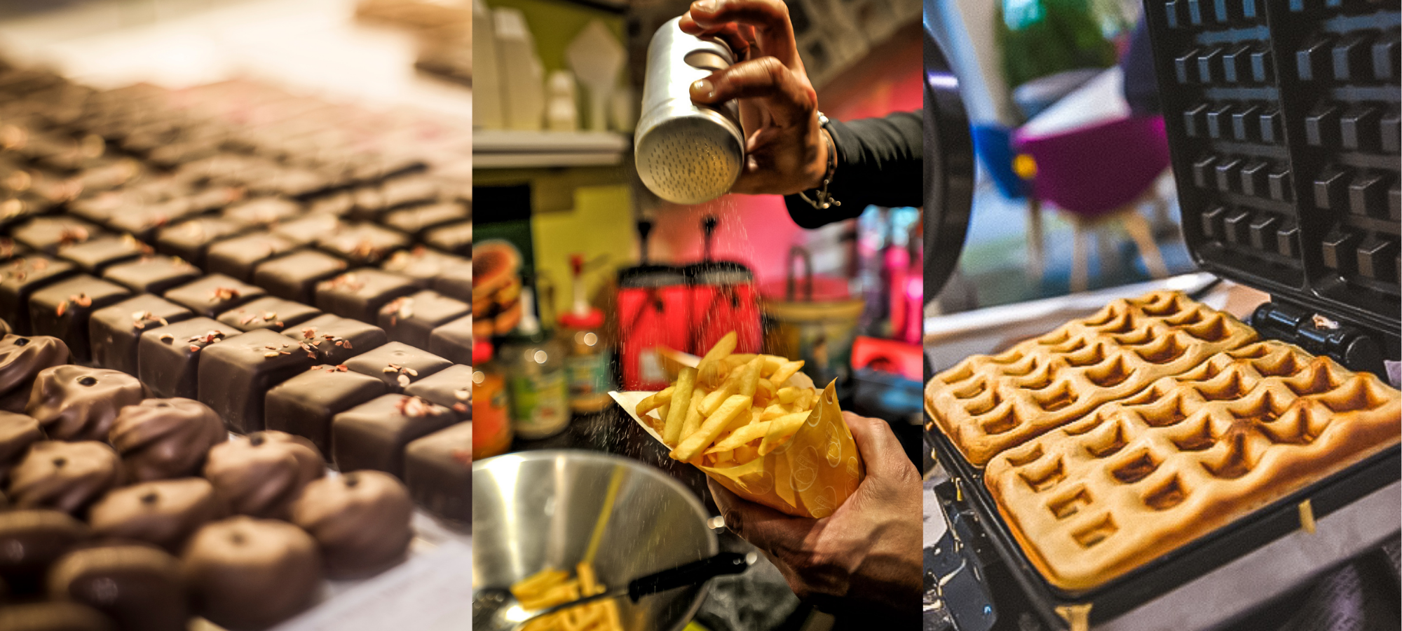 Left: Belgian chocolate. Middle: fries at the Belgian Frietmuseum. Right: Belgian waffles