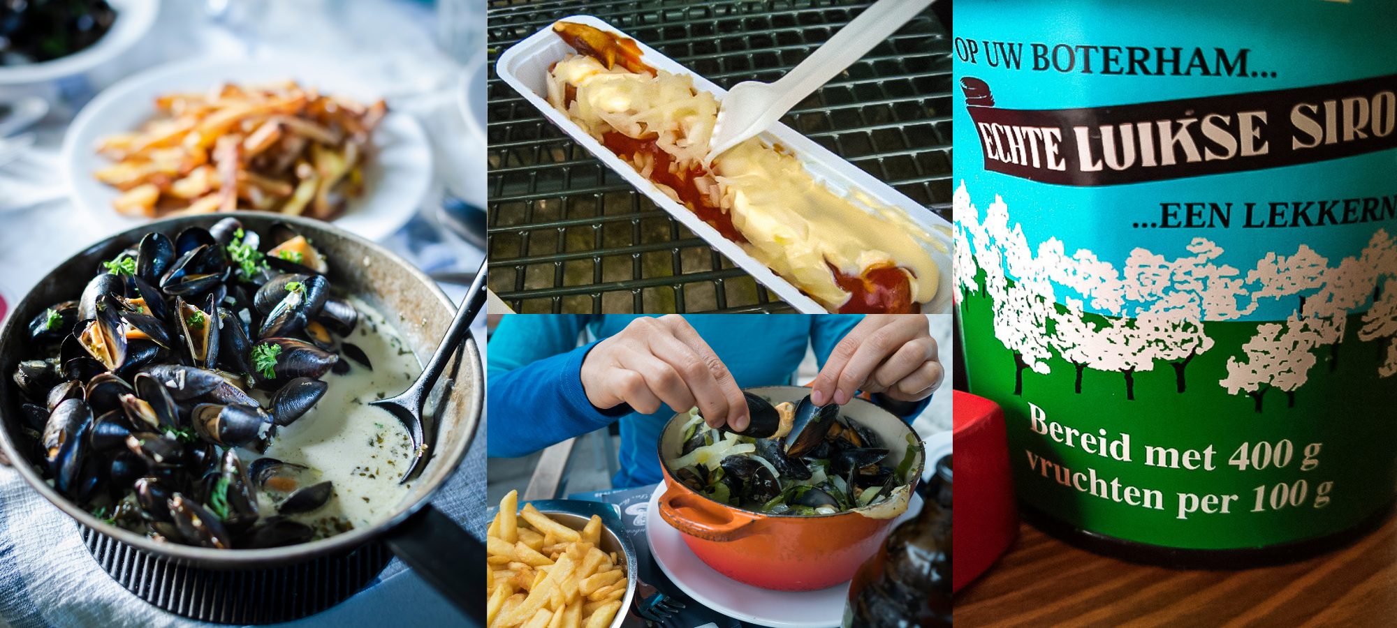 Image collage featuring the Belgian national dish of mussels and ther meals