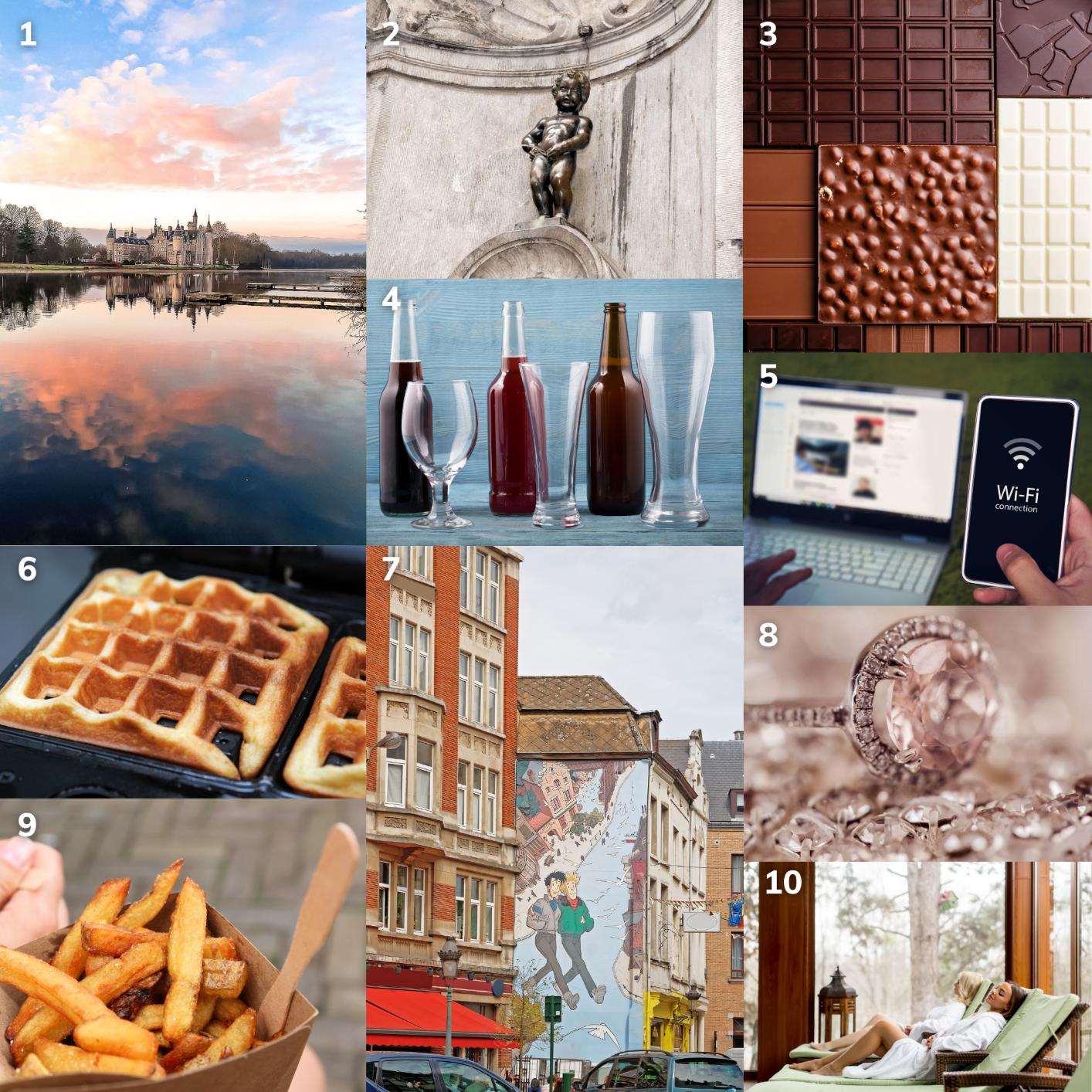 Image collage featuring Manneken Pis, Belgian chocolate, and Antwerp diamonds